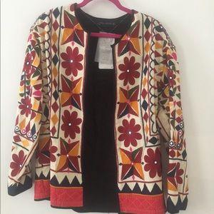 Zara embroidered open jacket